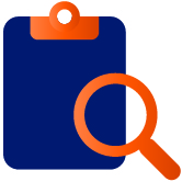 Clipboard with magnifying glass icon