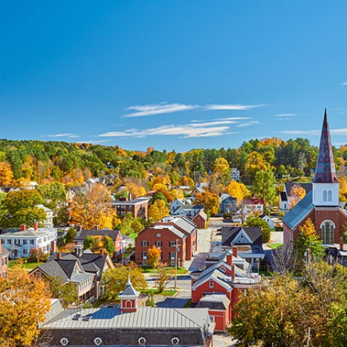 Mountain town in Vermont during fall